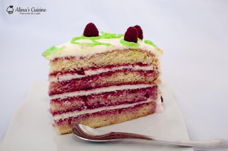 Tort cu crema de lamaie si jeleu de zmeura 037