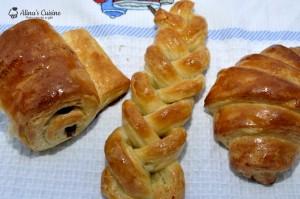 Pain au chocolat, croissant fraged-pufos, fundite impletite